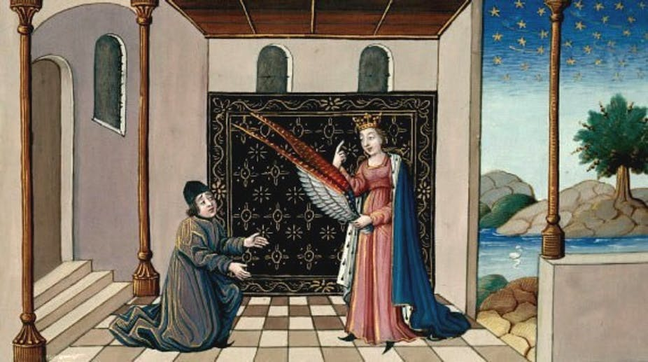 Lady Philosophy gives Boethius wings, anonymous French School 15th c.