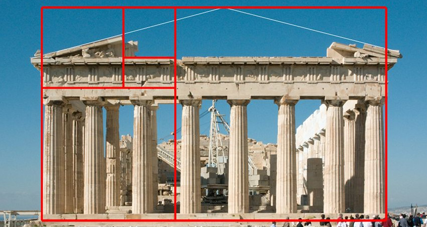 The Athenian Parthenon overlaid with a golden rectangle spiral.