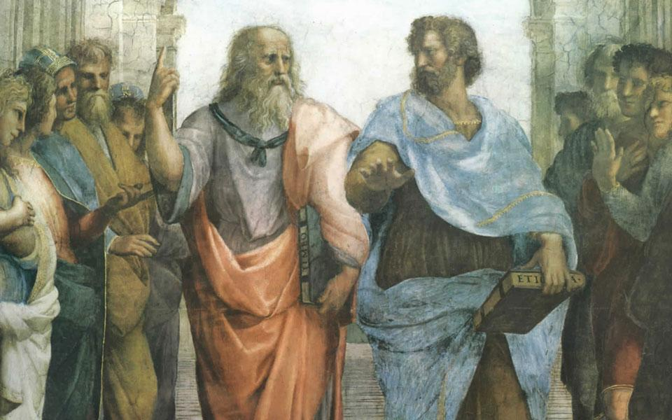 Plato points up, Aristotle thinks 'flat' is better.