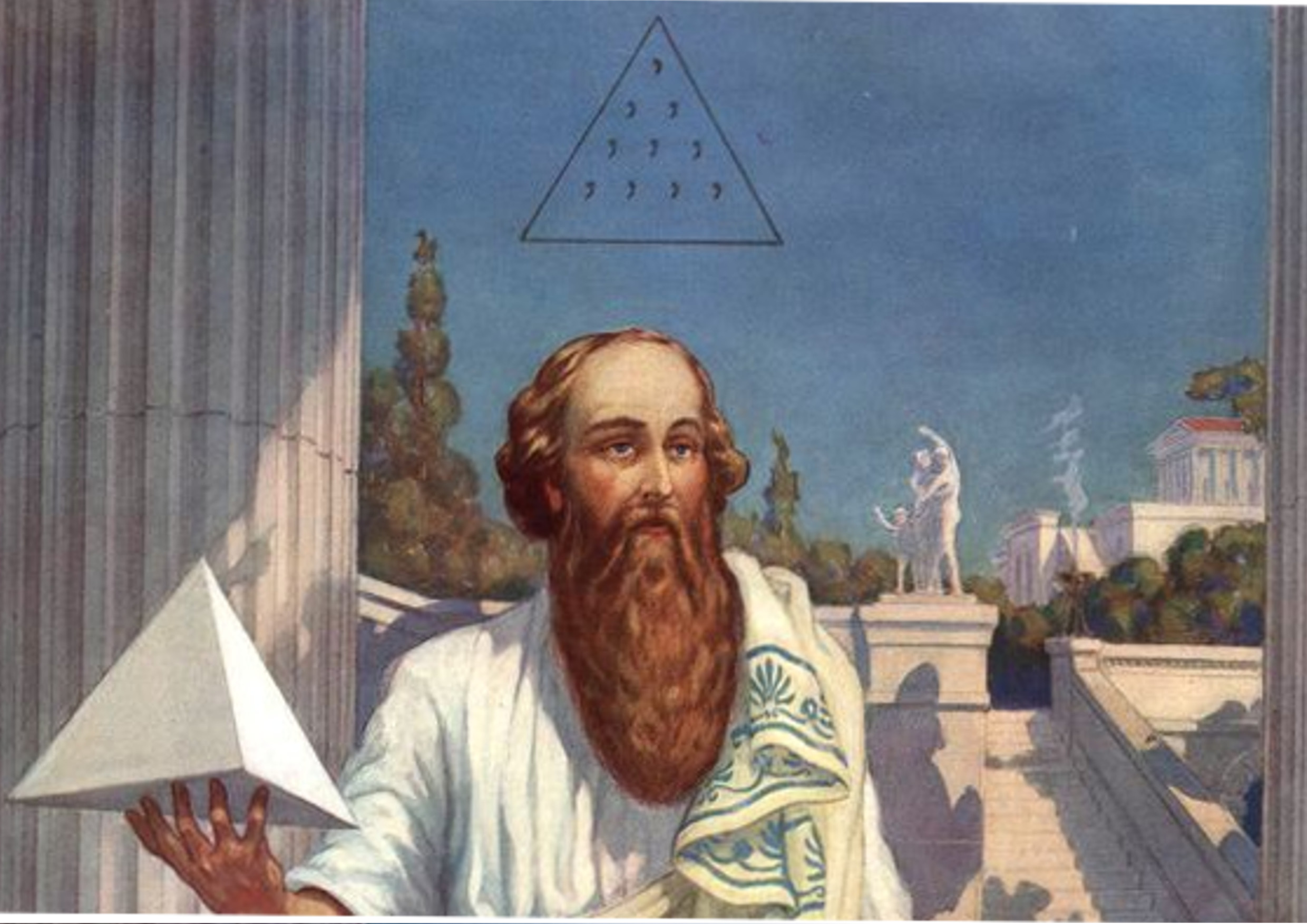 Pythagoras, detail from Knapp c. 1926. Notice the Hebrew 'Tetractys' floating above his head.
