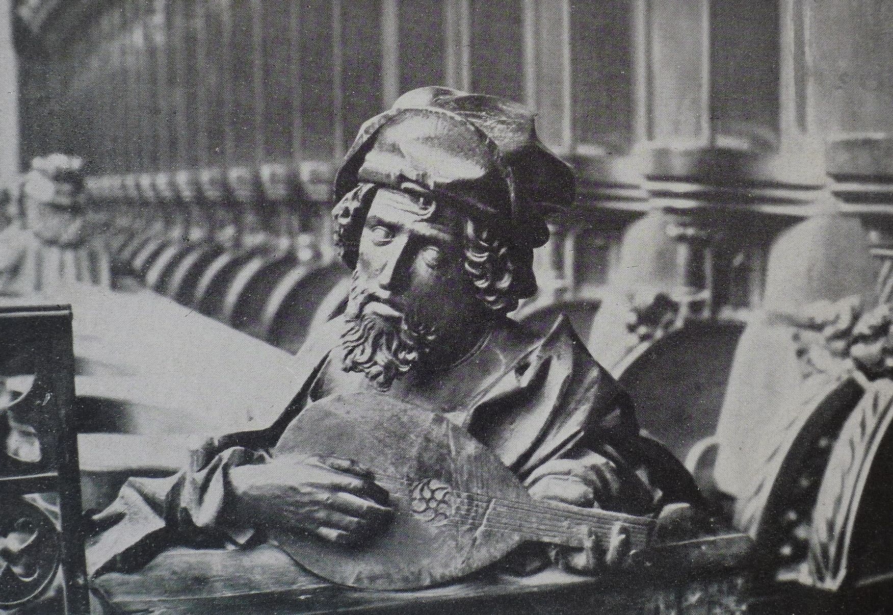 Pythagoras exploring harmonic theory, Münster Chorgestül (1469-1474)