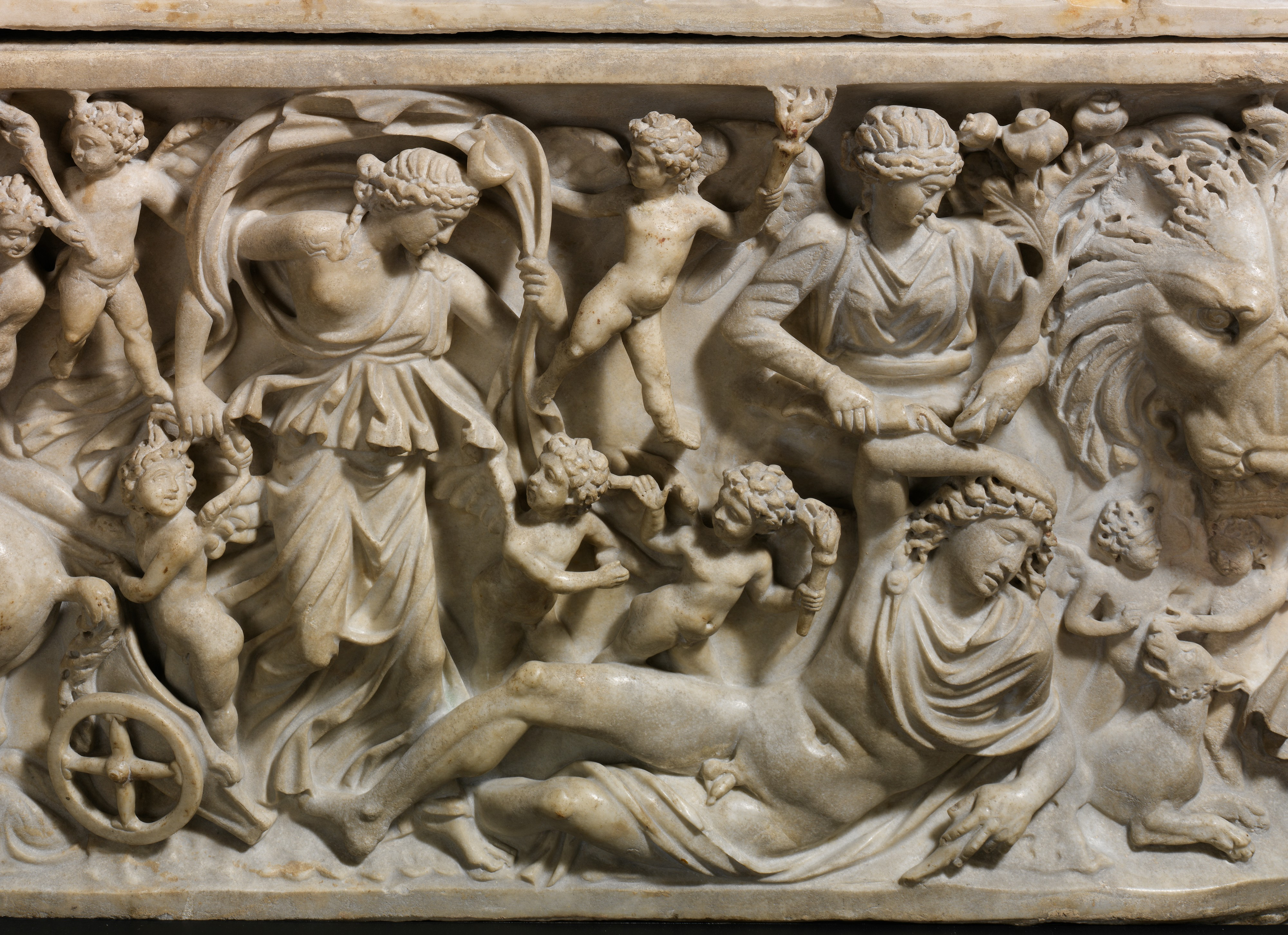 3rd cen CE Roman sarcophagus showing the myth of Selene and Endymion: note the lady pouring the potion of immortality on the sleeping youth, holding a bunch of poppies