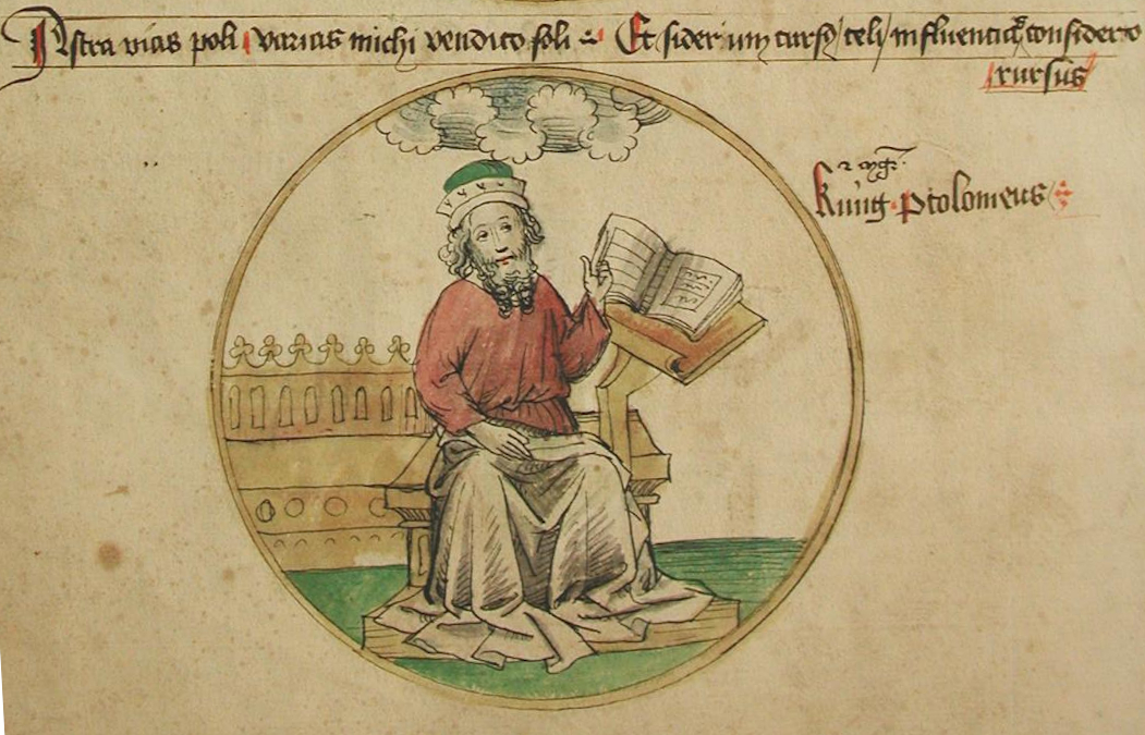 'King Ptolemy' as patron of the liberal art of astronomy, from an anonymous fifteenth-century MS (Unibibliothek Salzburg, M III 36 242 v), detail.