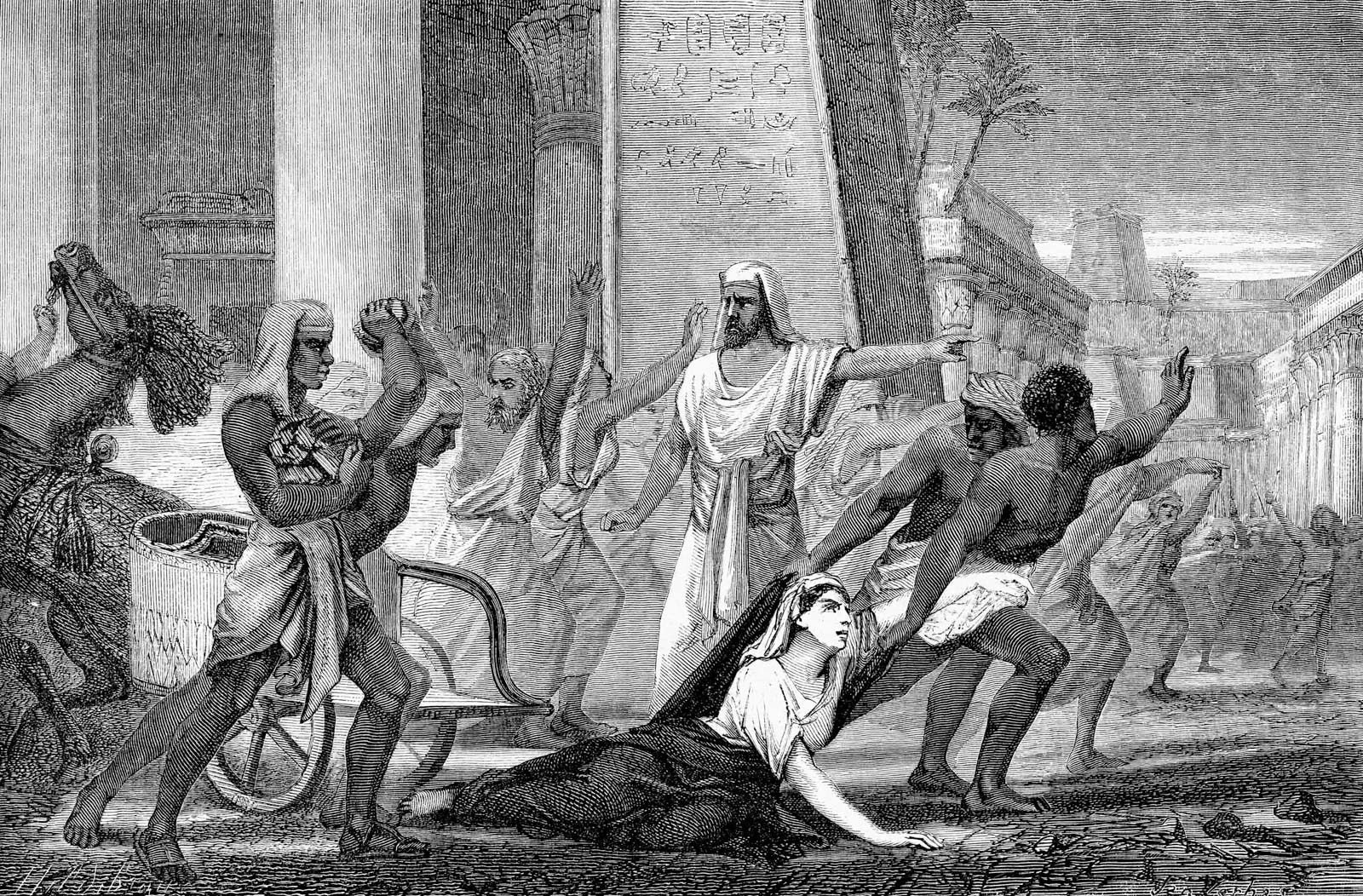 A 19th-century depiction of Hypatia of Alexandria being dragged to her death by the Christian mob. The 'Fall of Rome' and the end of classical antiquity have been used again and again to refocus Europeans' ideas of themselves and their own cultural narratives: here we see Hypatia as a (white) martyr of Classical rationalism falling foul of the irrational forces of (black) medieval barbarism.