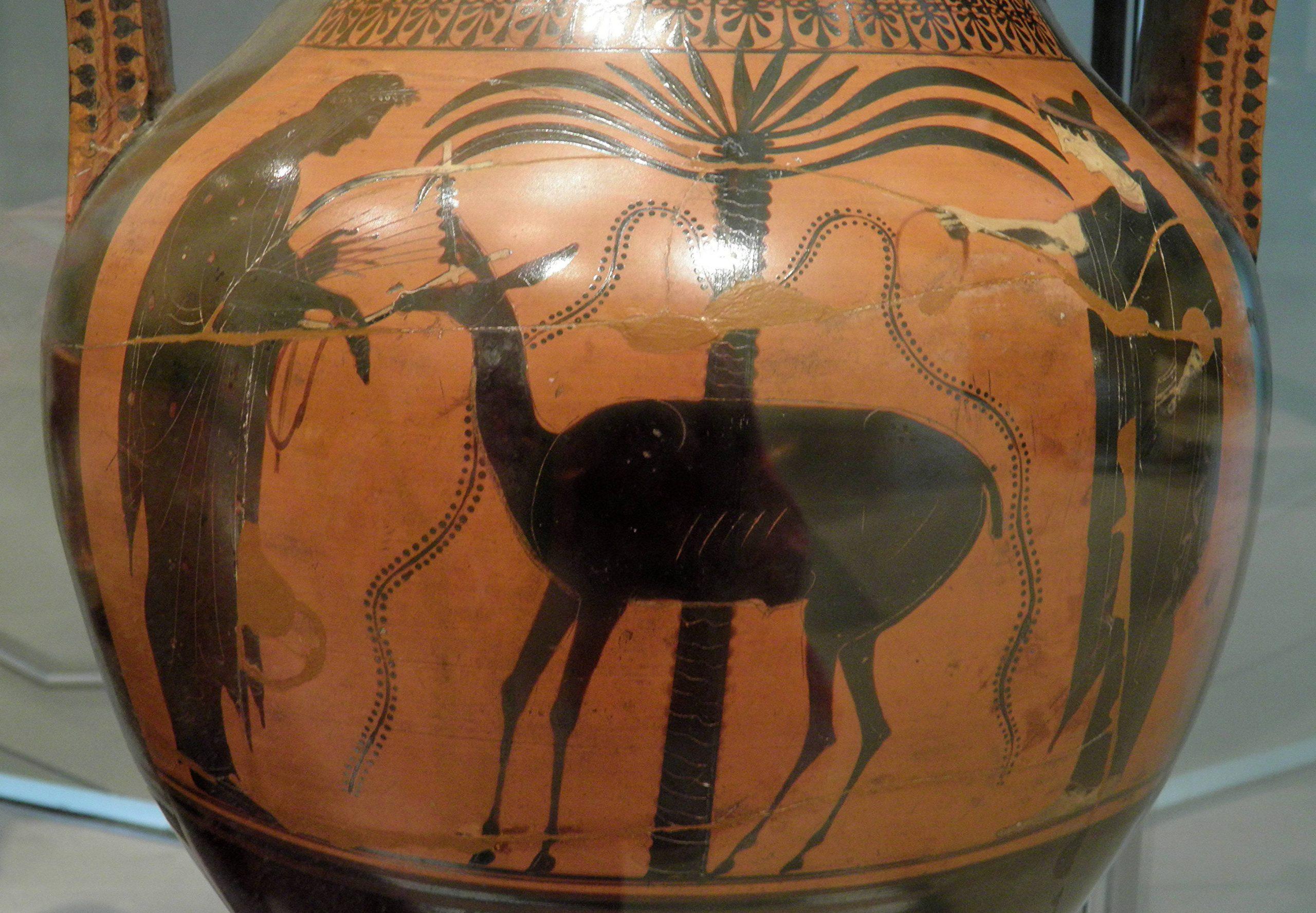 Athenian black-figure amphora showing Apollo, Leto, and an elegant deer with a palm tree (Ashmolean Museum, courtesy wikimedia)