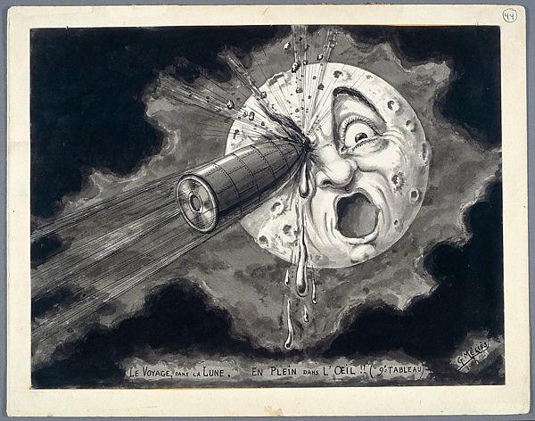 Marie-Georges-Jean Méliès, 'Square in the eye,' preparatory drawing for the film Le Voyage dans la lune (1902) Cinémathèque française, Paris