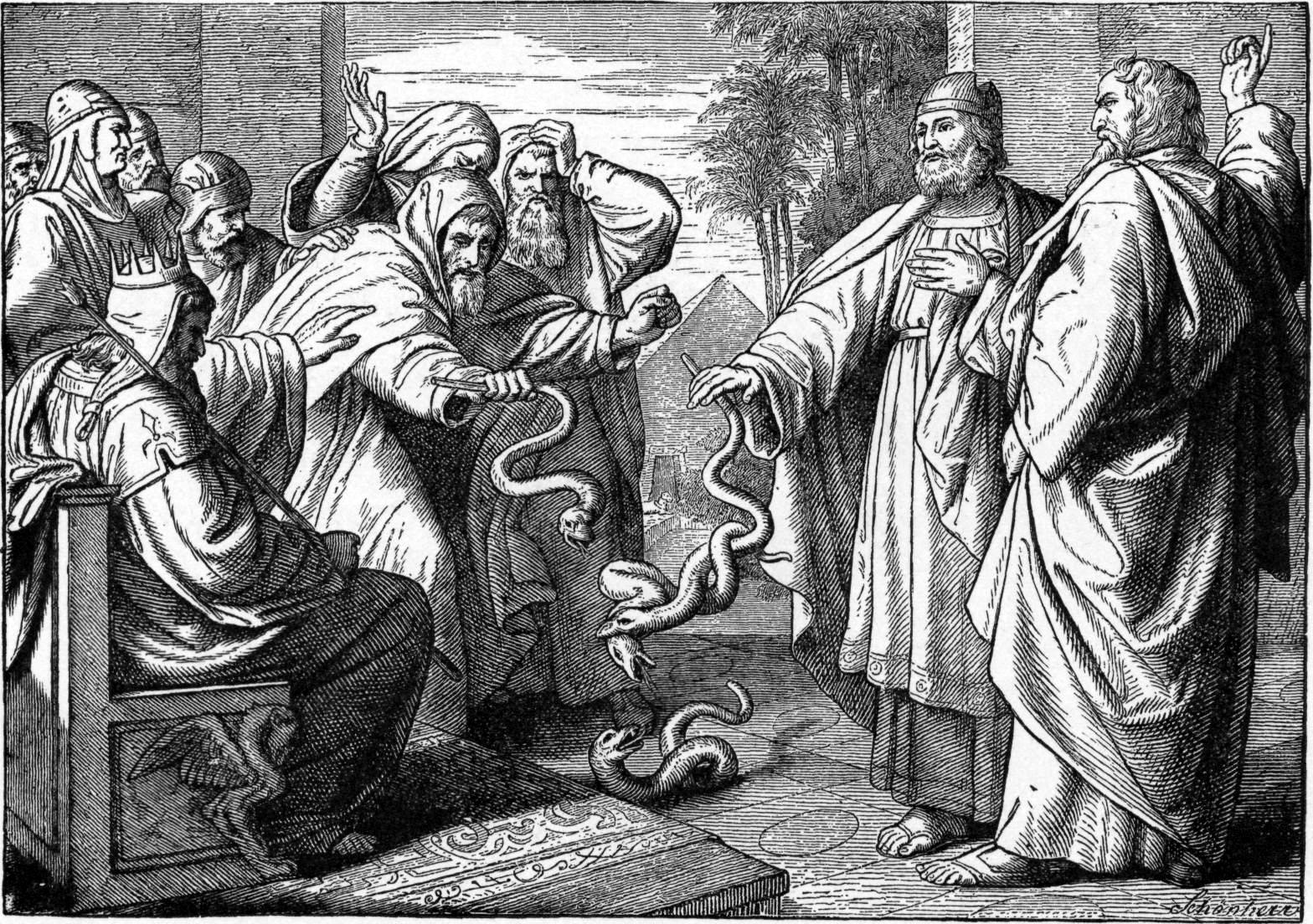 Charles Foster, Bible Pictures with Brief Descriptions (Philadelphia 1897). The Egyptians on the left miraculously producing snakes are sorcerers. Moses and Aaron, miraculously producing snakes on the right, are instruments of a divine miracle. See the difference?