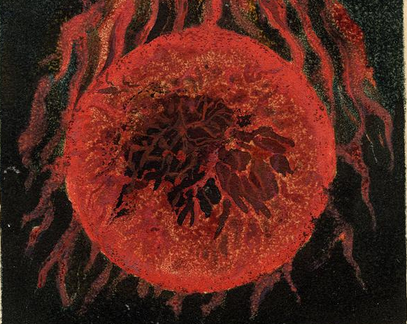 William Blake, The First Book of Urizen, plate 17, 1794. 'The globe of life blood trembled / Branching out into roots; / Fib'rous, writhing upon the winds; / Fibres of blood, milk and tears; / In pangs, eternity on eternity.'